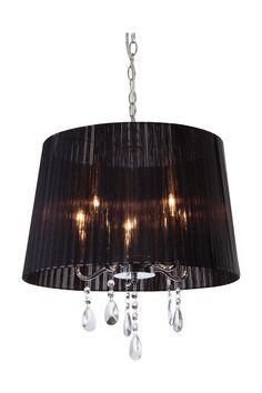Suspension Organza, ronde 42 Cm, 5 ampoules, en chrome et cristal, abat-jour noir