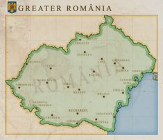 Greater Romania by on DeviantArt Romania Map, Alternate History, Historical Maps, Cartography, History Facts, Vintage World Maps, Flag, Deviantart, World Maps