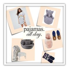 """""""pajamas all day"""" by ilseok on Polyvore featuring Post-It, P.J. Salvage, ASOS Curve, Cuddle Me, Gucci, J.Crew and LovelyLoungewear"""