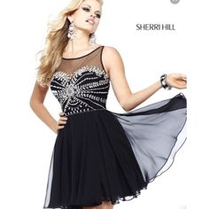 Sherri Hill prom dress ON SALE TIL 1/20 Beautiful black Sherri hill prom dress. Short, and only worn once, no imperfections. Size 0 If not sold, price will go up to $125 after 1/20. Sherri Hill Dresses