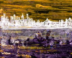 City at Night 1 Painting Print on Wrapped Canvas