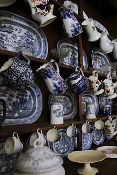 Welsh dresser at St. My mother gave me a full set of grandma's Blue Willow dishes and serving pieces that look identical to these. They were our everyday dishes growing up. Blue And White China, Blue China, Love Blue, Blue Dishes, White Dishes, White Plates, Vintage Dishes, Vintage China, Antique China