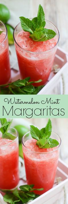 Watermelon Mint Margaritas - the most refreshing summer drink! Perfect for poolside parties, Cinco de Mayo, or just a Friday night!
