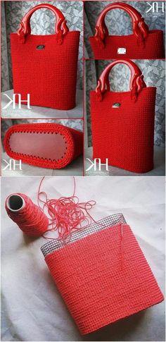 DIY Coil rope bowl tutorial and materials. Woven rope basket making kit and instructions DIY DIY Coil rope bowl tutorial and materials. Woven rope basket making kit and instructions DIY,Alles was gefällt mason jar. Crochet Tote, Crochet Handbags, Crochet Purses, Knit Crochet, Crochet Collar, Free Crochet, Diy Sac, Diy Bags Purses, Diy Handbag