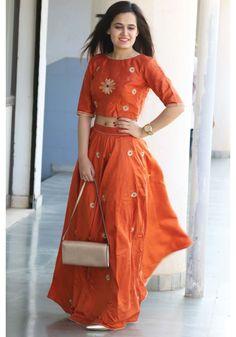 Bunaai Orange Silk Embroidered Lehenga