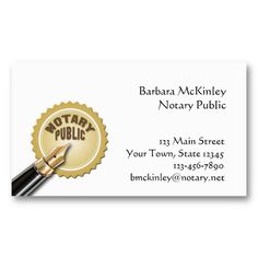 Notary Public Business Card | Business cards, Public and Business