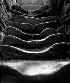 """""""old stairs: the steps within old wycoller hall near colne,lancashire . worn away through hundreds of years of use. it looks like the bottom step was sat on nearly as much as it was stepped on..."""" Photo by felixspencer2, via Flickr"""