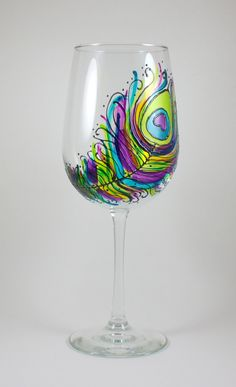 Peacock Feather Hand Painted Wine Glass, Stained Glass, Colorful by ImpulsiveCreativity on Etsy