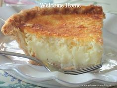 Welcome Home Blog: Mom's Coconut Custard Pie