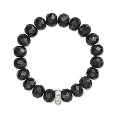 Thomas Sabo Charm Club sterling silver bracelet with obsidian beads. This trendy sterling silver bracelet with obsidian beads is an ideal addition to her Thomas Sabo collection. Silver Charm Bracelet, Stone Bracelet, Silver Charms, Black Bracelets, Bangle Bracelets, Bangles, Bijoux Thomas Sabo, Charm Armband, Argent Sterling