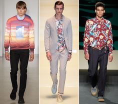 Trending in Milan for Spring/Summer 2014: Tropical Prints (From left: Calvin Klein, Gucci, Prada)