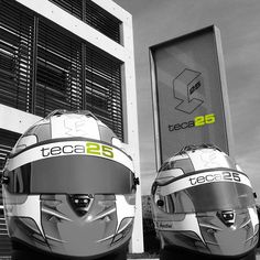 Teca25 helmets by Schuberth, outside Teca25 headquarters