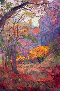 Zion National Park original landscape oil painting in a modern impressionist style, by Erin Hanson Zion Deep 2015 OIL ON CANVAS by erin hanson 40 x 60 in Landscape Art, Landscape Paintings, Landscapes, Nature Paintings, Impressionist Landscape, Deep Paintings, Indian Paintings, Abstract Paintings, Monet Paintings
