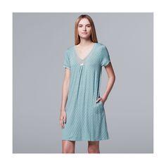 Women's Simply Vera Vera Wang Pajamas: Daytime Dreamer Short Sleeve Sleep Shirt, Size: Medium, Med Green