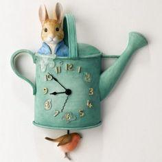 Peter Rabbit in Watering Can Clock
