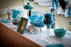 Love is sweet and we love candy! Our candy table.