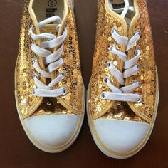 sequined sneakers  Gold sequin sneakers.  Gently used condition. Shoes Sneakers