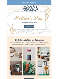 Share your top gift picks for Mother's Day with this stylish and modern Mother's Day email template - exclusively available in Mail Designer 365 Html Email Templates, Best Email, Email Newsletters, Email Design, Top Gifts, Gift Guide, Pure Products, Stylish, Spring