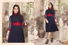 Superb Designer Ready to Wear Georgette Kurti with linning  in Navy Blue color with beautiful Thread Embroidery .  Available in S,M,L, XL size.