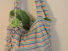 Tote Bag Womans Knit 16 inch Market CarryAll Lime Lady by bessiee, $16.00