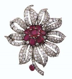 Princess Margaret's Cartier Ruby and Diamond Flower Brooch.  https://www.facebook.com/photo.php?fbid=1434964373447299&set=oa.283553501812446&type=3&theater https://www.facebook.com/groups/260713314096465/