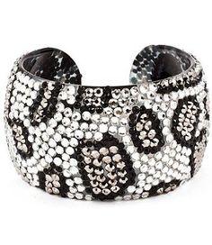 "WOW!!! Celebrity Style Zebra, Leopard Animal Print Crystal & Rhinestone Handmade Plastic Open Bangle 2"" Wide & Lightweight by Jersey Bling (Silver Leopard): Jewelry: Amazon.com"