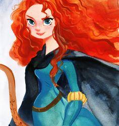 Disney Fine Art - Merida from Brave Disney Kunst, Arte Disney, Disney Magic, Merida Disney, Brave Merida, Disney And More, Disney Love, Disney Girls, Dragons