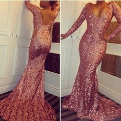 Metallic Sequined Shine Evening Dresses with Long Sleeve for Women Formal Occasion Wear Sale Sparkly Fit and Flare Lower Back Prom Gowns