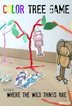 create a playful color tree game inspired by the book where the wild things are