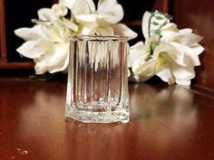 Rose Shot Glass or Toothpick Holder Embossed Rose on Bottom Paneled Sides by VintageEves on Etsy