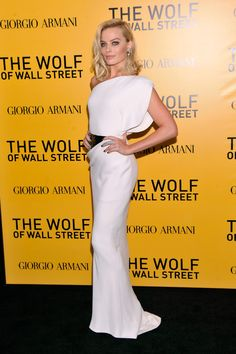 Margot Robbie in Armani Prive at the NY premiere for The Wolf of Wall Street on December 17, 2013.