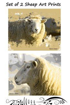 Sheep Art, Set of 2, Farm Ranch, Sepia Gray, Textured Artwork, Abstract Realism, Home Decor, Diptych Wall Hanging, Giclee Print, 8 x 10 Sheep Art, Giclee Print, Folk Art, Ranch, Cow, Rustic, Gray, Abstract, Wall
