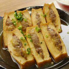 厚揚げの中にお肉を閉じ込めた、厚揚げ肉豆腐!厚揚げがしっかりと出汁を吸うので、噛むたびにジュワッとおいしさが広がります。見た目はサンカク……だけど味はニジュウマルの肉豆腐♩おつまみにもおすすめですよ。