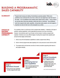 BUILDING A PROGRAMMATIC SALES CAPABILITY Global Brands, Direct Sales, Big Data, Statistics, New Trends, Infographics, Digital Marketing, Advertising, Cap