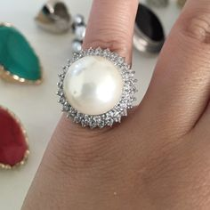 Spotted while shopping on Poshmark: 💍 Pearl Cocktail Ring w/Ring of Diamonds! #poshmark #fashion #shopping #style #Jewelry