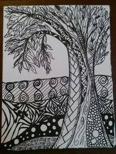 Tree zentangle doodle art