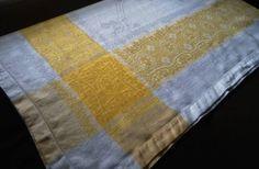 "Vintage Yellow Irish Linen Damask Tablecloth Flowers Ribbons Hemstitch 74"" | eBay Damask Tablecloth, Vintage Tablecloths, Vintage Yellow, Ribbons, Irish, Rugs, Flowers, Ebay, Collection"