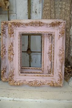 Kirby-not a super Pinky person...but LOVE this frame shabby chic do-over!! Shabby chic pink frame soft muted colors gold by AnitaSperoDesign