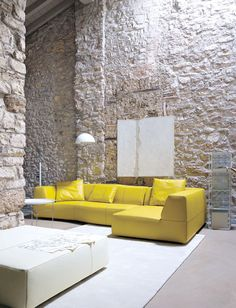 ♂ Modern minimalist interior design with rough wall. Interesting combination.