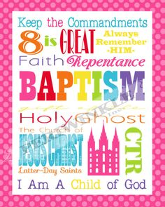 LDS Baptism Gift Subway Art Printable 8x10 5 Designs Included
