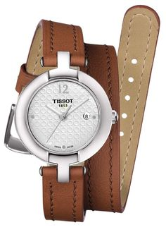 1163c0394f69 Pinky by Tissot Women s Quartz White Dial Watch with Light Brown Double  Leather Strap Bolsas