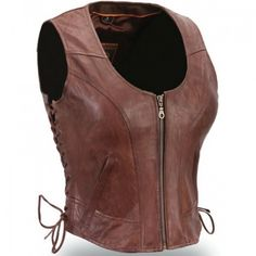 Women Fashion Brown Leather Vest Made By Leather Rider