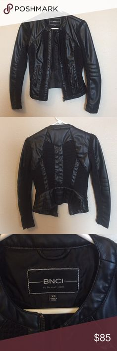 BNCI by Blanc Noir // Leather Jacket Very unique faux leather jacket. It has crocheted bits throughout the piece as seen in the pictures. Very tailored fit! Looks smokin hot on! The crochet on the back left arm has been worn down. Nothing too noticeable in the grand scheme of things. Pockets are not actually pockets. blanc noir Jackets & Coats