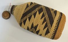 Native American Indian Basket Hupa Area Woven Basketry Bottle Circa 1900's