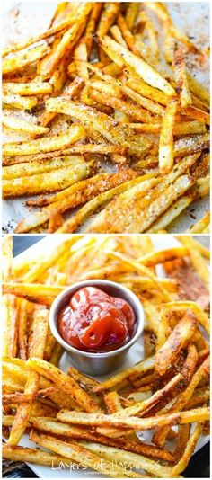 Crispy Oven Baked French Fries Extra-crispy French fries baked not fried – so you can feel good about eating them!Extra-crispy French fries baked not fried – so you can feel good about eating them! Think Food, I Love Food, Good Food, Yummy Food, Tasty, Oven Baked French Fries, Crispy French Fries, Garlic French Fries, Recipe For Oven French Fries