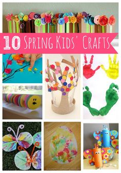 Spring crafts for kids - love that accordion flower garden! Perfect for the mantle =)