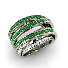 Round Emerald  and Diamond  Cocktail Ring in 14k White Gold