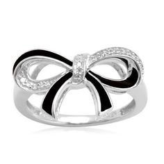 Sterling Silver Black Enamel Bow Diamond Ring (0.05 cttw, I-J Color, I2-I3 Clarity), Size 6 | Your #1 Source for Jewelry and Accessories