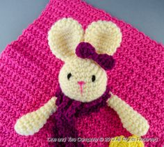 Instant Download - NEW PDF Crochet Pattern - Olivia the Bunny Security Blanket - Text instructions and SYMBOL Chart instructions. $3.99, via Etsy.
