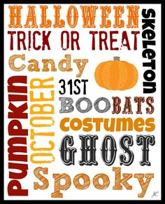 FREE Halloween Subway Art Printable! Just frame it! Plus a transferable version to put on the surface of your choice! GREAT Decoration! SO CUTE!